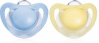 NUK Silicone Pacifier STARLIGHT - Blue & Yellow 2pcs pack