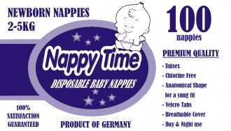 New Nappy Time Newborn (2-5)kg - 100 Nappies